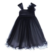 Black Rattail Edge Tulle Flower Girl Dress Pretty Princess 117NF