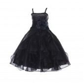 Black Shimmering Organza Rhinestones Flower Girl Dress Occasions J120