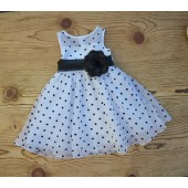 White/Black/Black Polka Dot Organza Flower Girl Dress Dance Reception 1509U