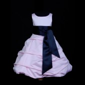 Pink/Black Satin Pick-Up Bubble Flower Girl Dress Fairy 806S