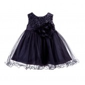 Black Glitter Sequin Tulle Flower Girl Dress Formal Princess B-011NF