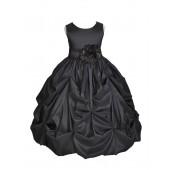 Matching Black Satin Taffeta Pick-Up Bubble Flower Girl Dress 301S