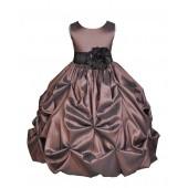 Brown/Black Satin Taffeta Pick-Up Bubble Flower Girl Dress 301S