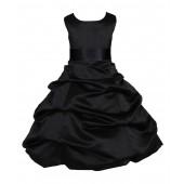 Matching Black Satin Pick-Up Bubble Flower Girl Dress 806S