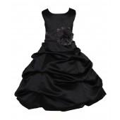 Black Matching Satin Pick-Up Bubble Flower Girl Dress 808T