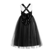Black Crossed Straps A-Line Flower Girl Dress 177