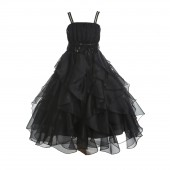 Black Satin Organza Sequin Spaghetti-Straps Flower Girl Dress 009