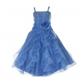 Cornflower Shimmering Organza Rhinestones Flower Girl Dress Occasions J120