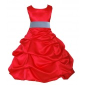 Red/Bluebird Satin Pick-Up Bubble Flower Girl Dress Christmas 806S