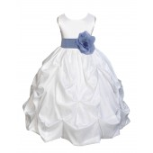 White/Bluebird Satin Taffeta Pick-Up Bubble Flower Girl Dress 301T