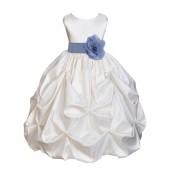 Ivory/Bluebird Satin Taffeta Pick-Up Bubble Flower Girl Dress 301T