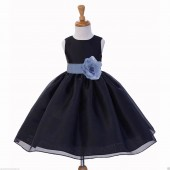 Black/Bluebird Satin Bodice Organza Skirt Flower Girl Dress 841S