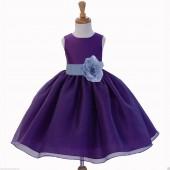 Purple/Bluebird Satin Bodice Organza Skirt Flower Girl Dress 841S