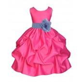 Fuchsia/Bluebird Satin Pick-Up Flower Girl Dress Recital 208T