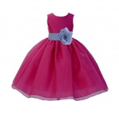 Fuchsia / Bluebird Satin Bodice Organza Skirt Flower Girl Dress Birthday 841S