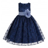 Navy Blue / Bluebird Floral Lace Overlay Flower Girl Dress Elegant Beauty 163T