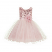 Blush Pink Glitter Sequin Tulle Flower Girl Dress Pretty Princess B-011