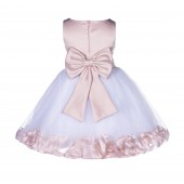 Blush Pink Rose Petals Tulle Flower Girl Dress Special Gown 305NT