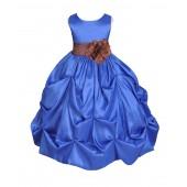 Royal Blue/Brown Satin Taffeta Pick-Up Bubble Flower Girl Dress 301S