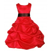 Red/Brown Satin Pick-Up Bubble Flower Girl Dress Christmas 806S