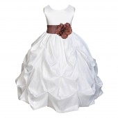 White/Brown Satin Taffeta Pick-Up Bubble Flower Girl Dress 301S