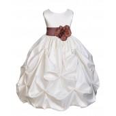 Ivory/Brown Satin Taffeta Pick-Up Bubble Flower Girl Dress 301S