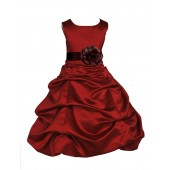 Apple Red/Brown Satin Pick-Up Bubble Flower Girl Dress 808T