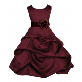 Burgundy/Brown Satin Pick-Up Bubble Flower Girl Dress Event 808T
