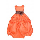 Orange/Brown Satin Taffeta Pick-Up Bubble Flower Girl Dress 301S