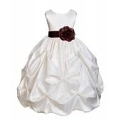 Ivory/Brown Satin Taffeta Pick-Up Bubble Flower Girl Dress 301T