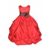 Red/Brown Satin Taffeta Pick-Up Bubble Flower Girl Dress 301S