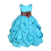 Pool Blue/Brown Satin Taffeta Pick-Up Bubble Flower Girl Dress 301S