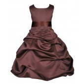 Matching Brown Satin Pick-Up Bubble Flower Girl Dress 806S