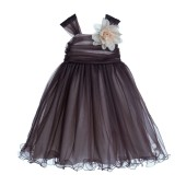 Brown/Ivory Rattail Edge Tulle Flower Girl Dress Pretty Princess 117NF