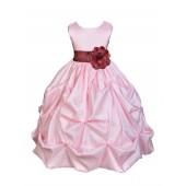 Pink/Burgundy Satin Taffeta Pick-Up Bubble Flower Girl Dress 301S