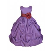 Purple/Burgundy Satin Taffeta Pick-Up Bubble Flower Girl Dress 301S
