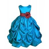Turquoise/Burgundy Satin Taffeta Pick-Up Bubble Flower Girl Dress 301S