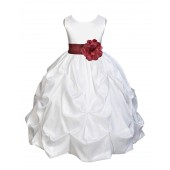 White/Burgundy Satin Taffeta Pick-Up Bubble Flower Girl Dress 301S