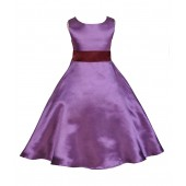 Purple/Burgundy A-Line Satin Flower Girl Dress Party Recital 821S