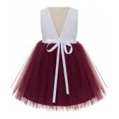 Burgundy / White Backless Lace Flower Girl Dress Rhinestone 206R4