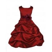 Apple Red/Burgundy Satin Pick-Up Bubble Flower Girl Dress 808T