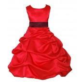 Red/Burgundy Satin Pick-Up Bubble Flower Girl Dress Christmas 806S