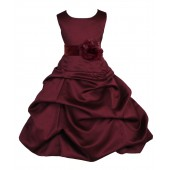 Burgundy Matching Satin Pick-Up Bubble Flower Girl Dress 808T