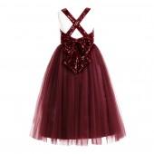 Burgundy Crossed Straps A-Line Flower Girl Dress 177