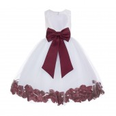 White / Burgundy Floral Lace Heart Cutout Flower Girl Dress with Petals 185T