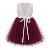 Burgundy / Ivory Backless Lace Flower Girl Dress Rhinestone 206R3