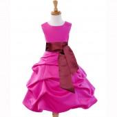 Fuchsia/Burgundy Satin Pick-Up Bubble Flower Girl Dress V2 806S