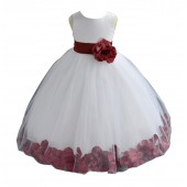 White/Burgundy Tulle Rose Petals Flower Girl Dress Ceremonial 302a