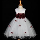 Burgundy Butterflies Tulle Flower Girl Dress 3-Flower Sash 509A