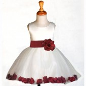 Ivory/Burgundy Rose Petals Tulle Flower Girl Dress Pageant 305S